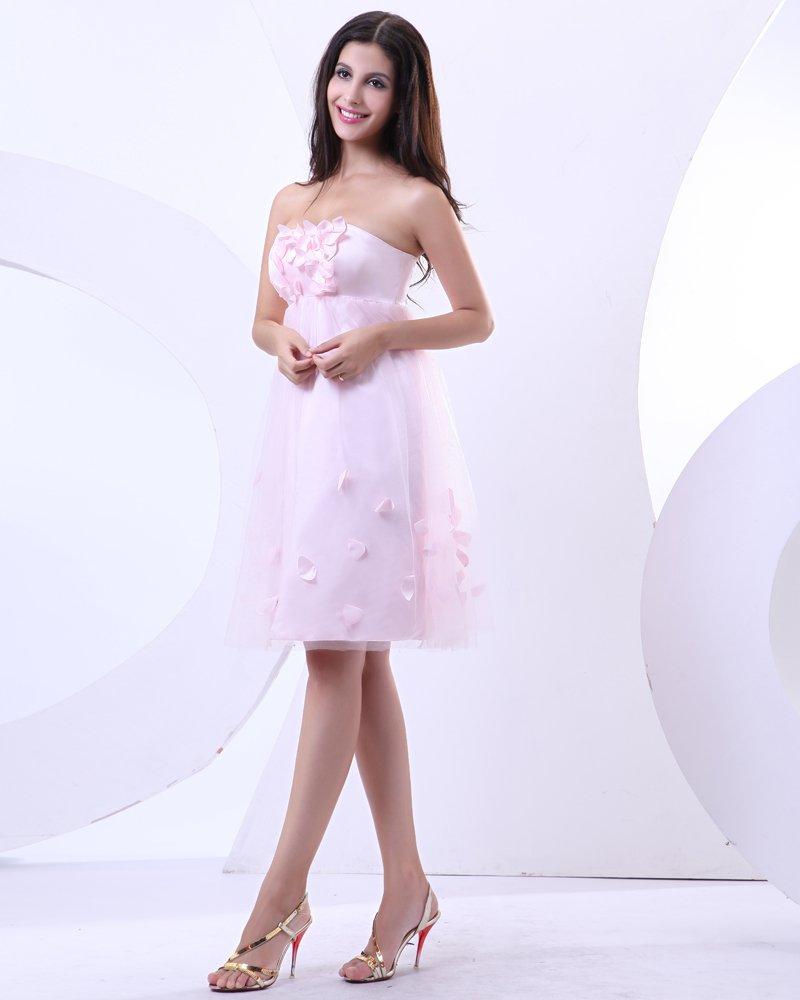 Ruffles Yarn Beading Satin Sleeveless Sweetheart Short Mini Cocktail Party Dress