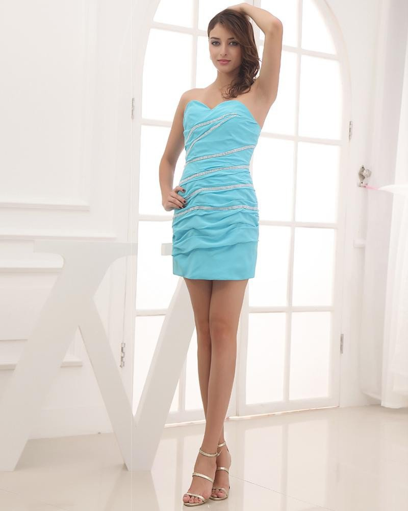 Chiffon Silk Like Satin Silk Beading Ruffle Sweetheart Thigh Length Cocktail Party Dress
