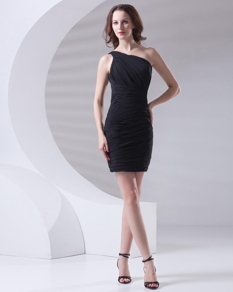 Fascinating Sloping Thigh Length Pleated Chiffon Women Little Black Party Dress