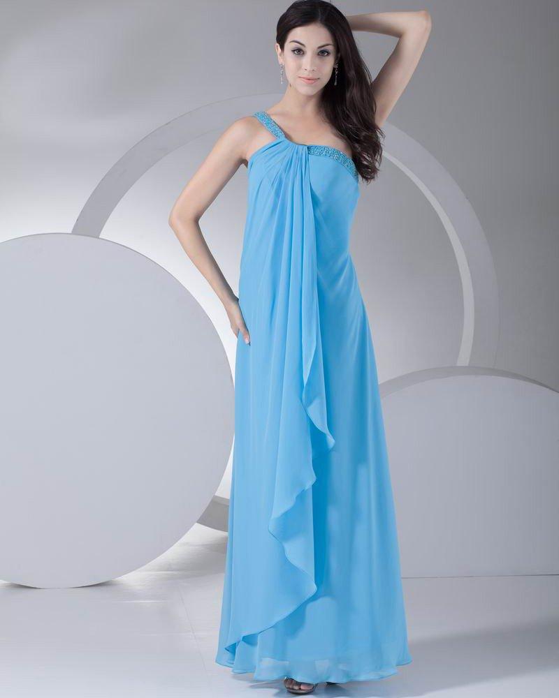 Fashion Chiffon Silk like Satin Beading One Shoulder Ankle Length Evening Party Dress