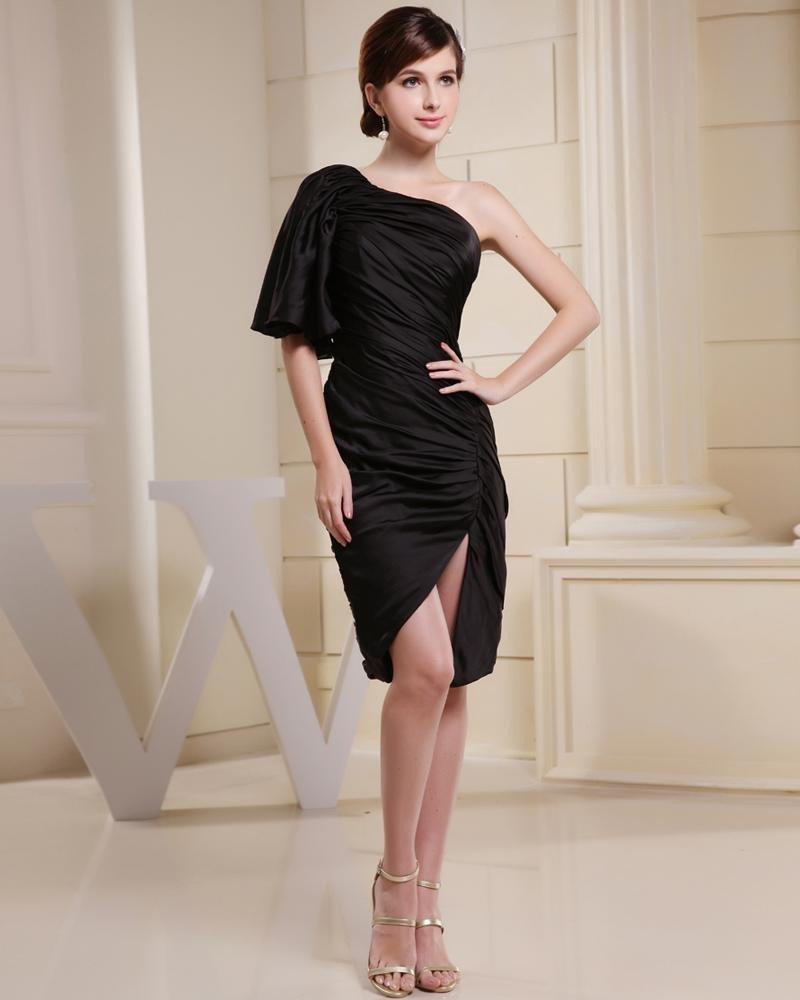 Stylish Solid Charmeuse Silk Silk Like Satin Tight Ruffle One-Shoulder Knee Length Sleeveless Slit C