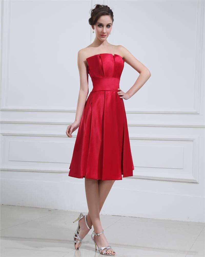 Square Ruffle Sleeveless Belt Knee Length Satin Cocktail Party Dress
