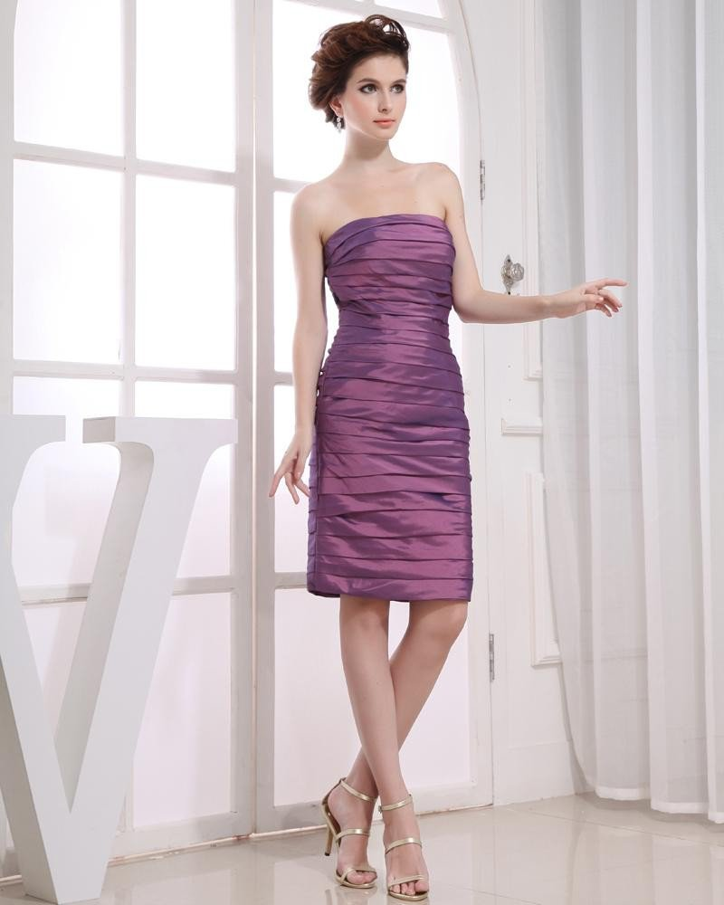 Pleat Strapless Neckline Knee Length Taffeta Woman Cocktail Party Dress