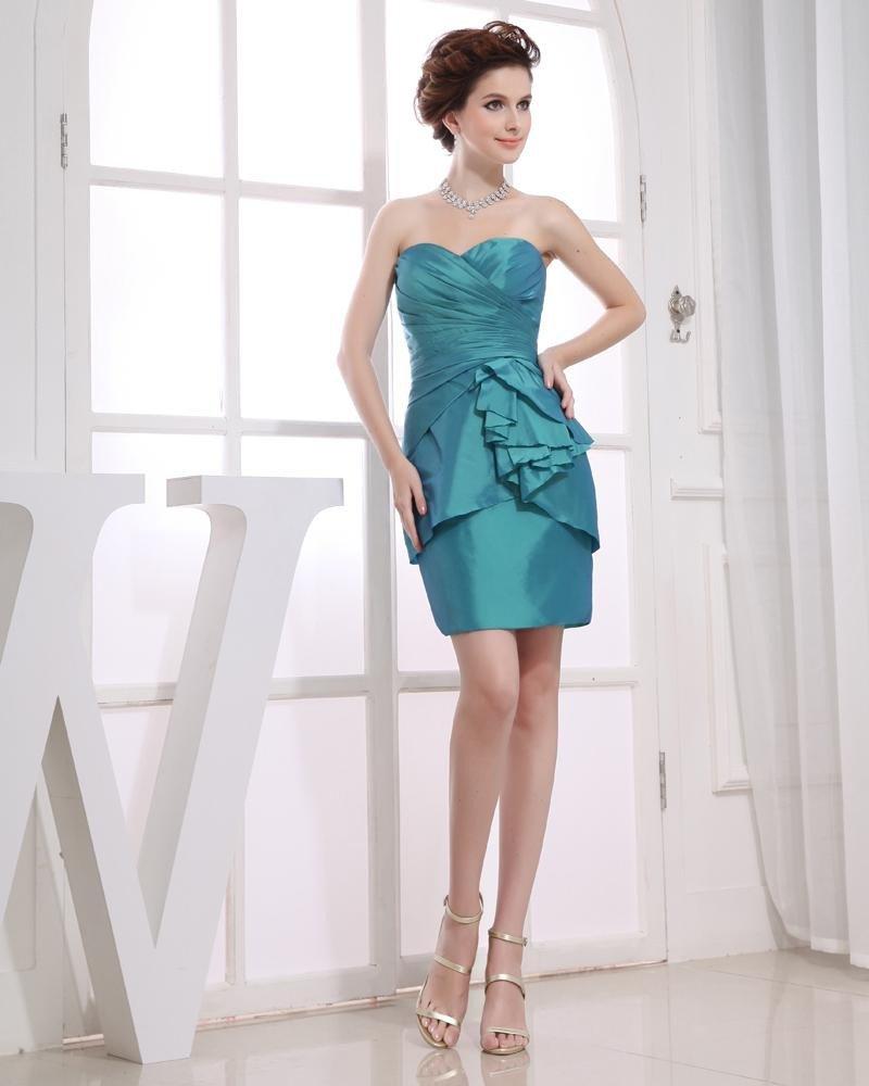 Sweetheart Neckline Pleated Thigh Length Sleeveless Taffeta Woman Little Black Party Dress