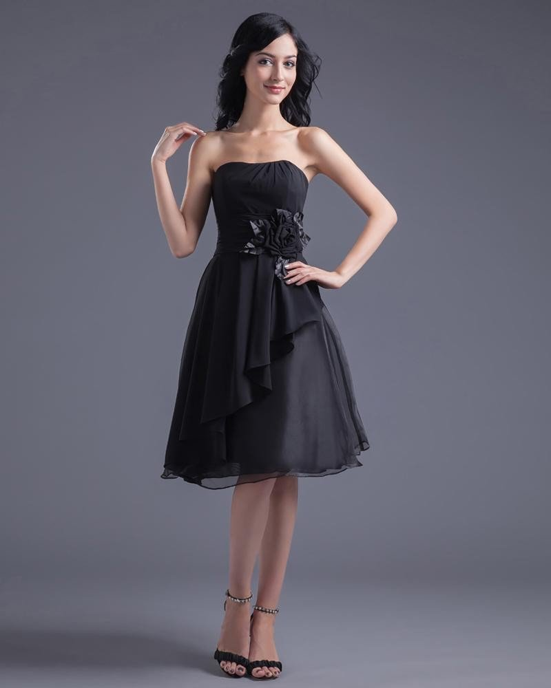 Fashion Chiffon Applique Strapless Knee Length Little Black Party Dress