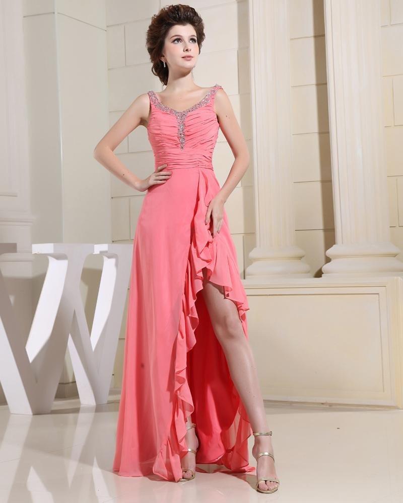 V Neck Pleated Beading Sleeveless Zipper Floor Length Chiffon Woman Evening Party Dress