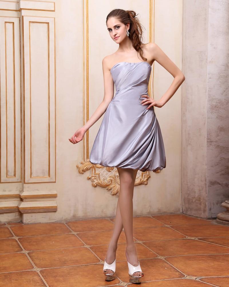 Elegant Ruffles Strapless Knee Length Taffeta Evening Party Dress