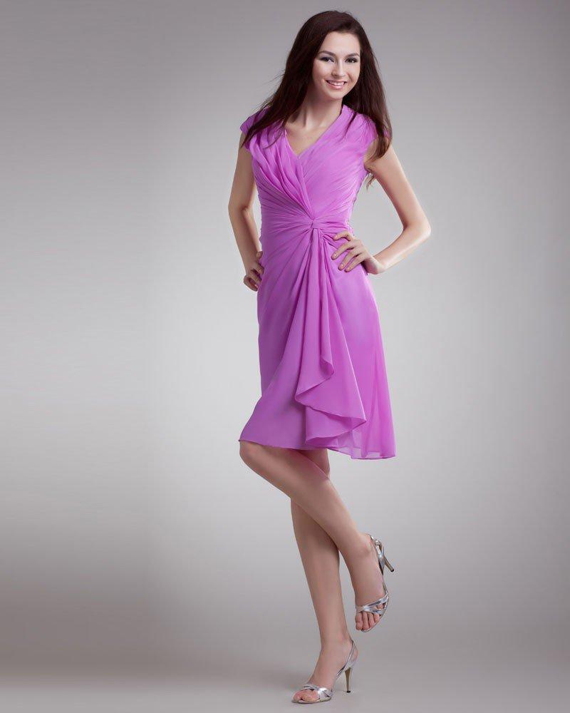 Chiffon Ruffle V Neck Knee Length Little Black Party Dress