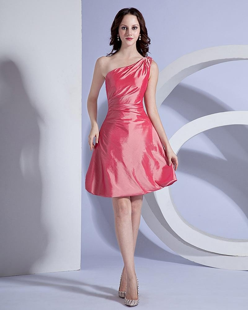 Elegant Taffeta One-Shoulder Evening Party Dresses