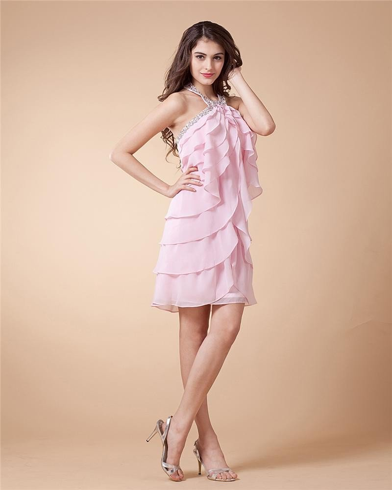 Chiffon Drape Handmade Flower Halter Thigh High Cocktail Party Dresses