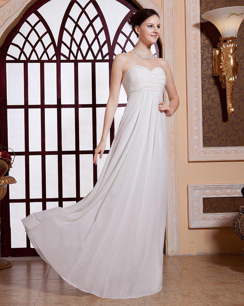 Solid Pleated Sweetheart Neckline Zipper Chiffon Women Evening Party Dress