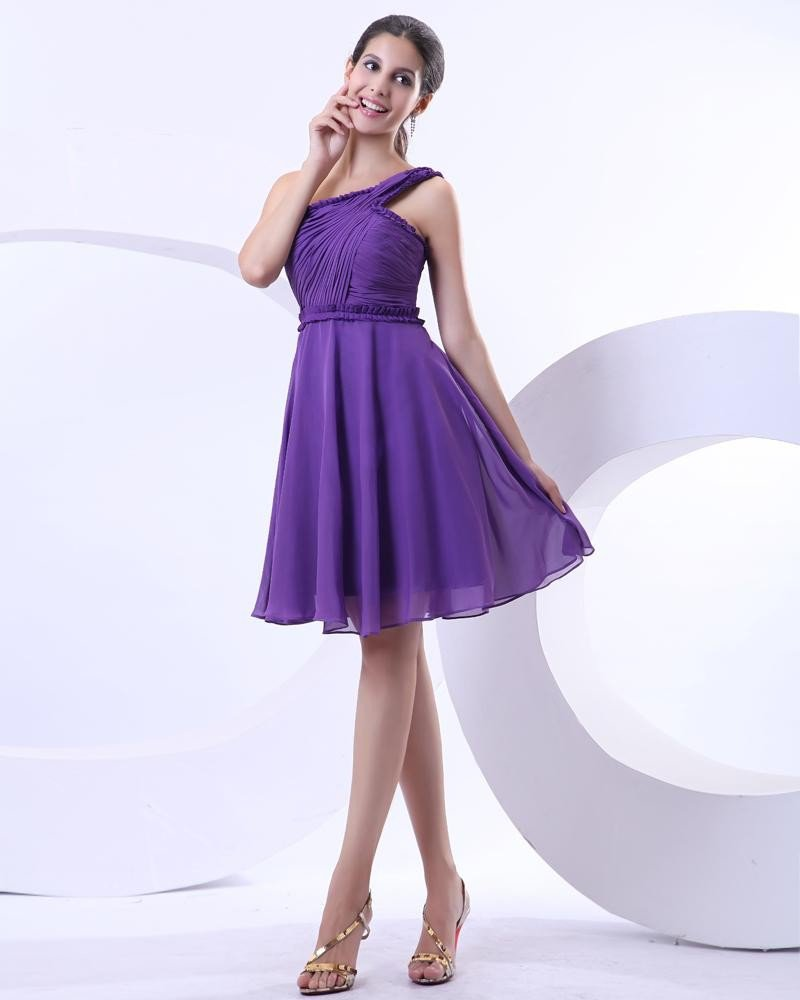 Yarn Ruffle Layered One Shoulder Knee Length Cocktail Party Dresses