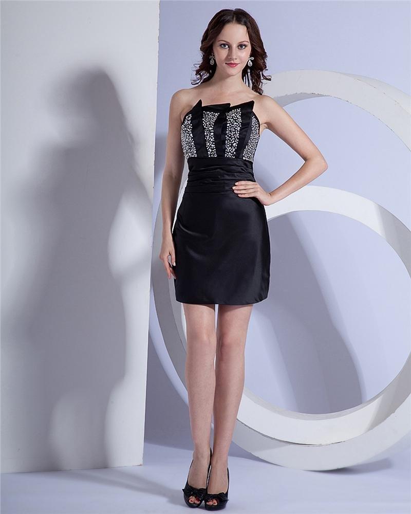 Sheath Strapless Short Mini Satin Women's Cocktail Party Dress