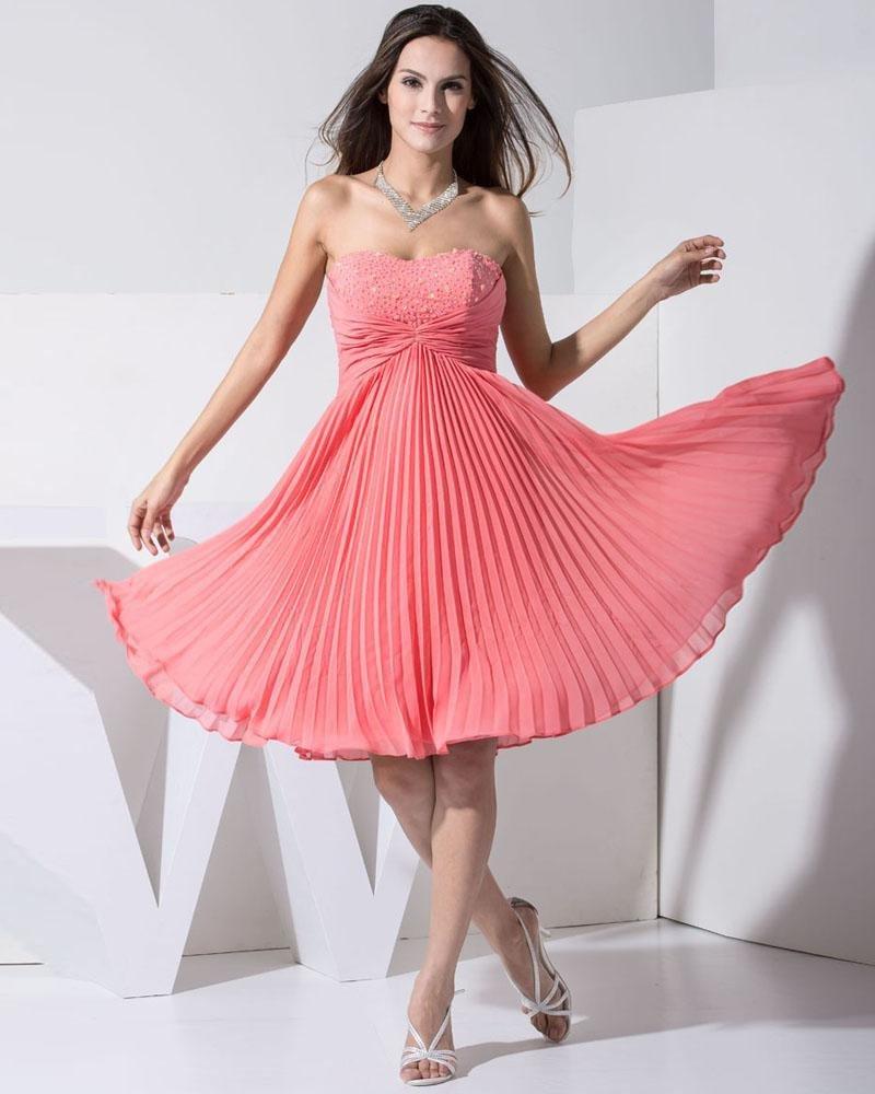 Stylish Chiffon Silk Elastic Silk Like Satin Sweetheart Beading Sleeveless Backless Knee Length Plea