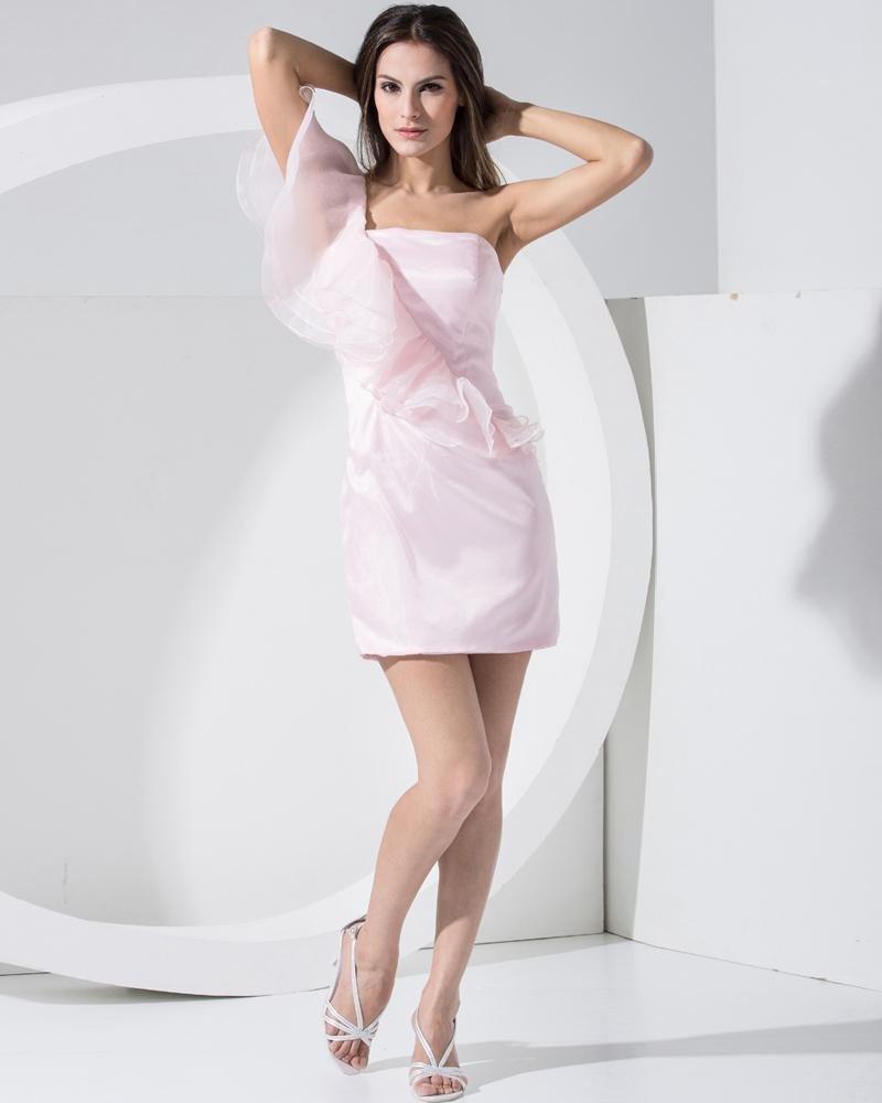 Stylish Organza Satin Silk Solid Slopping Slim Sleeveless Backless Mini Cocktail Party Dress