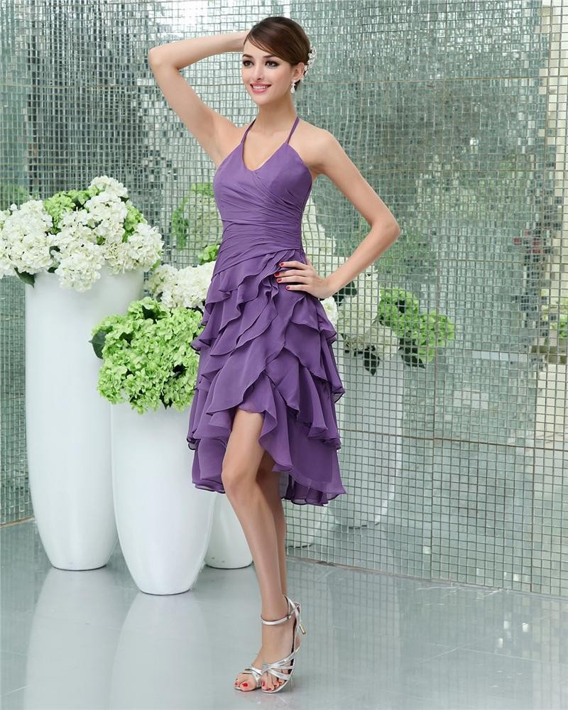 Elegant Halter Knee-Length Satin Party Party Dress