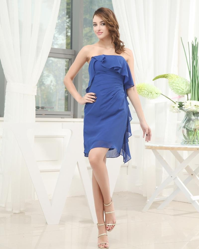 Strapless Neckline Thigh Length Ruffles Pleat Chiffon Woman Cocktail Party Dress