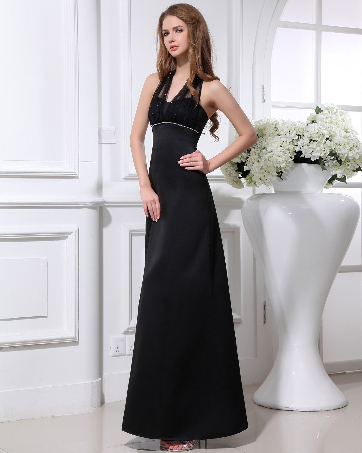 Elegant Satin Yarn Beaded Halter Ankle Length Women Evening Party Dress