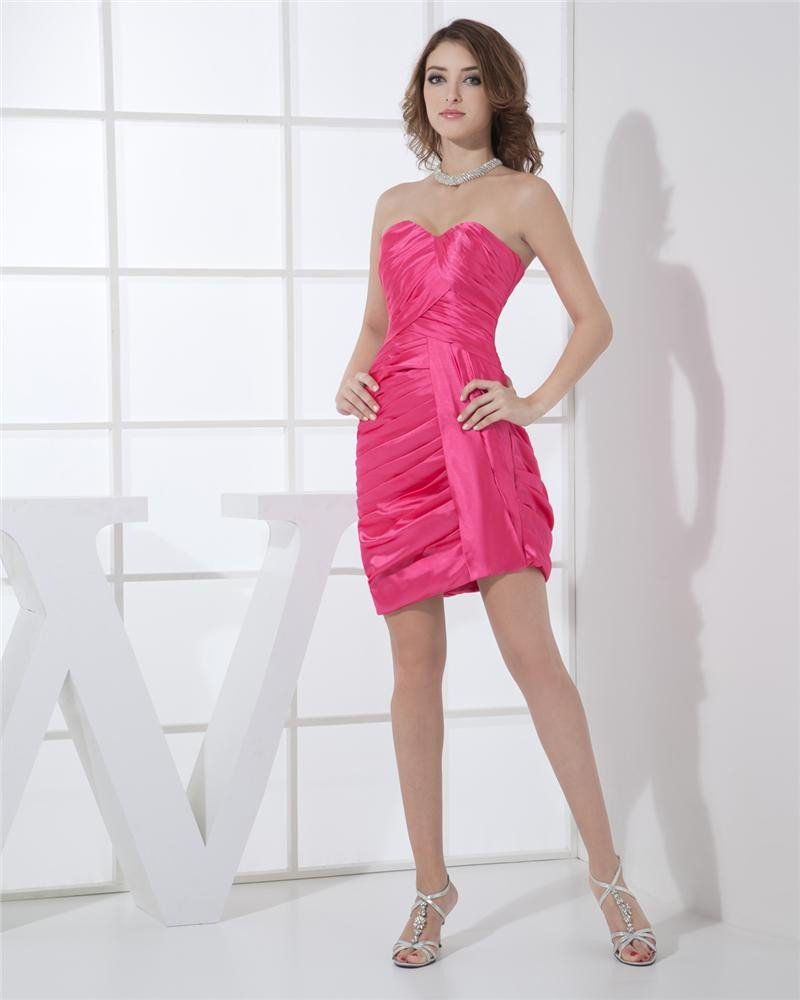 Strapless Neckline Thigh Length Pleat Charmeuse Sleeveless Woman Cocktail Party Dress