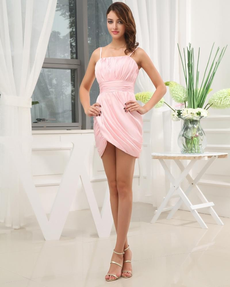 Chiffon Satin Ruffle Spaghetti Straps Mini Cocktail Party Dress