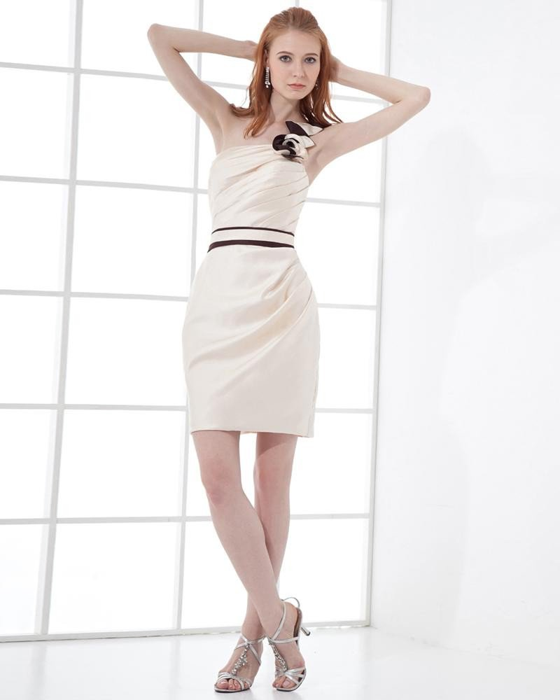 Fashion Satin Pleated One Shoulder Thigh Length Cocktail Party Dress