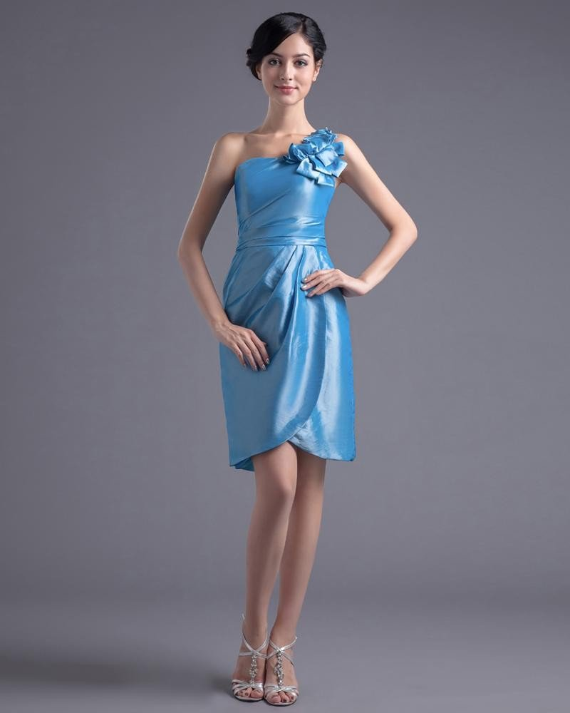 Fashion Taffeta Pleated Flower One Shoulder Thigh Length Cocktail Party Dress