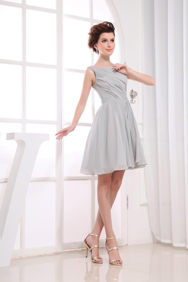 Sleeveless Thigh Length Pleated Chiffon Woman Little Black Party Dress