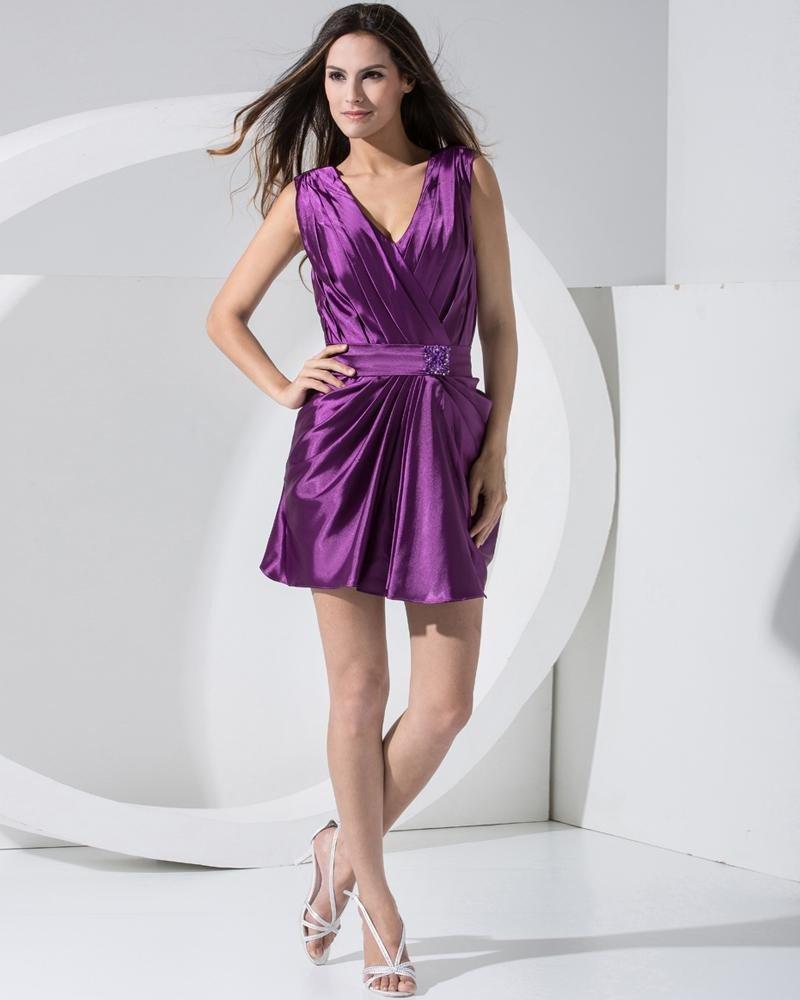 Stylish Solid Charmeuse V Neck Sleeveless Zipper Beading Belt Mini Pleated Cocktail Party Dress