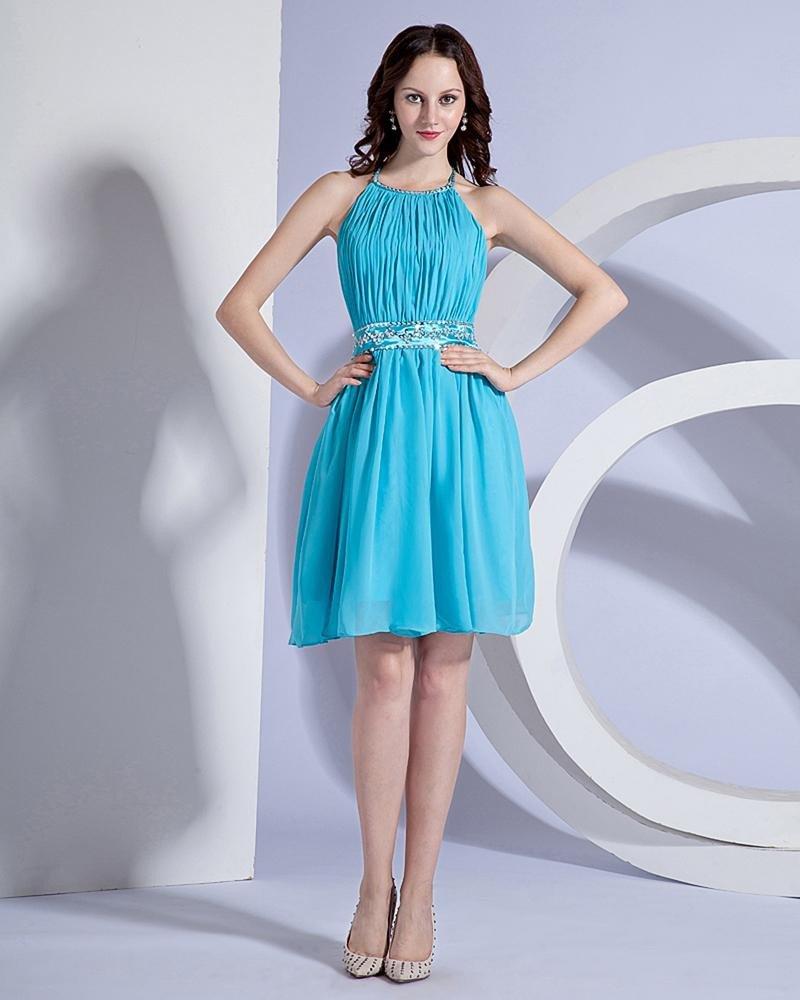 Elegant Chiffon Ruffle Halter Knee Length Cocktail Party Dress