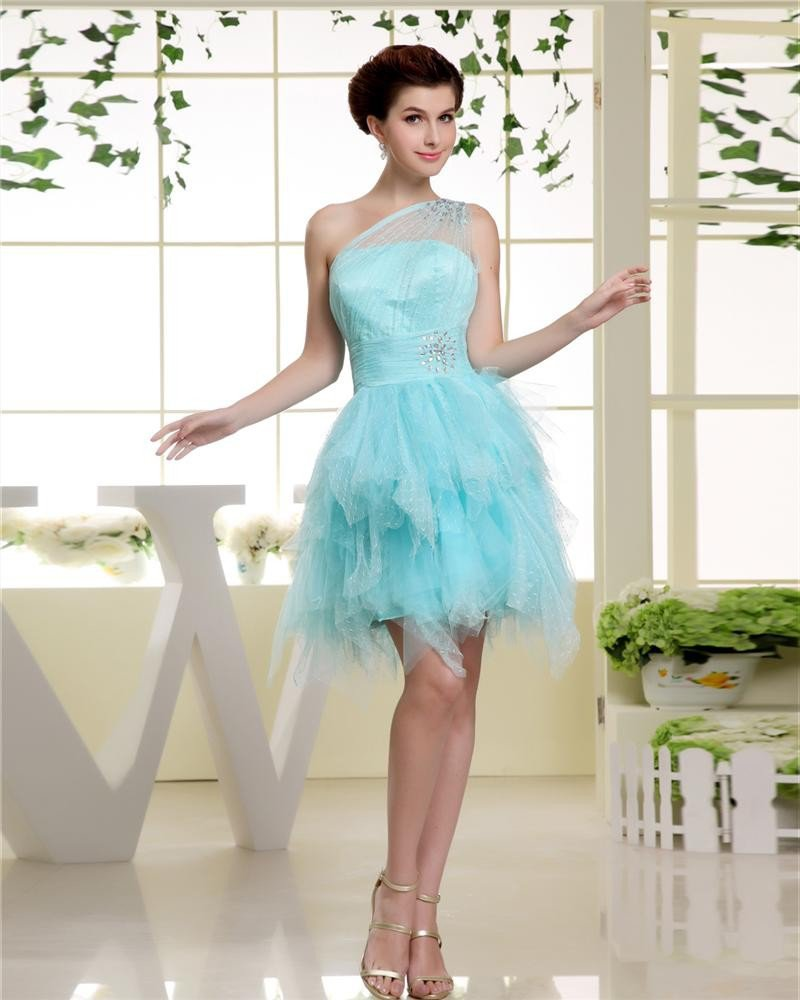 Sloping Neckline Sleeveless Thigh Length Beading Tulle Silk Woman Cocktail Party Dress
