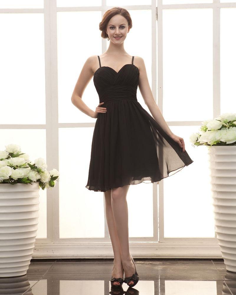Sweetheart Knee Length Satin Chiffon Ruffle Little Black Party Dress