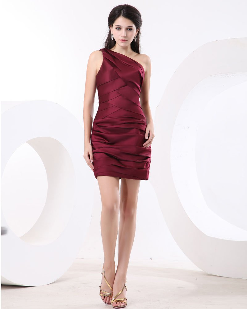 One Shoulder Ruffle Short Mini Satin Little Black Party Dress