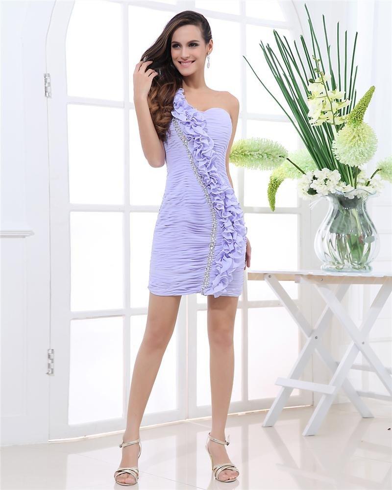 One Shoulder Beading Flower Pleated Sleeveless Zipper Mini Length Chiffon Woman Cocktail Party Dress