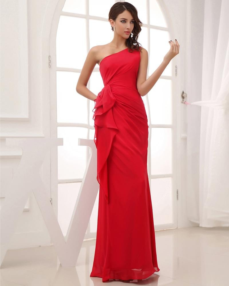 Silk Like Satin Chiffon Silk Ruffle Sloping Floor Length Pleated Evening Party Dress