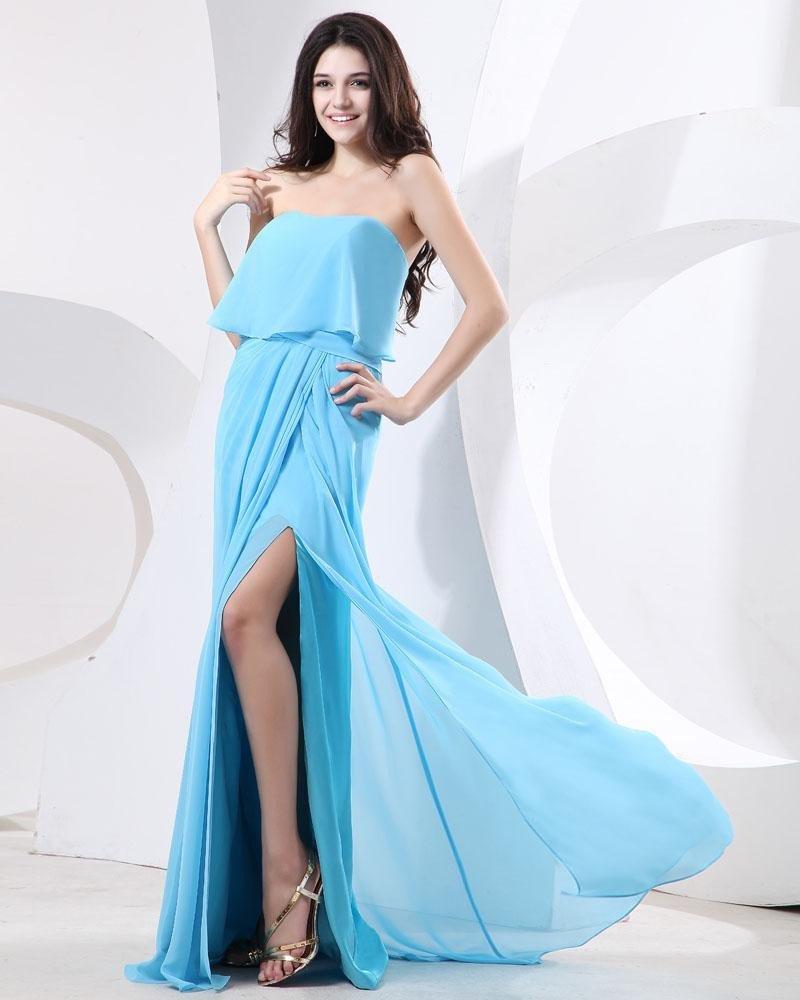 Elegant Ruffle Chiffon Strapless Floor Length Evening Party Dress