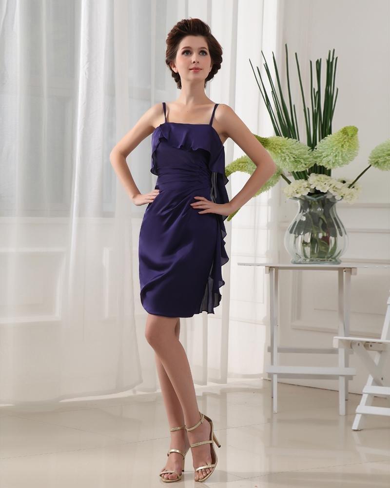 Spaghetti Straps Sleeveless Ruffle Mini Length Chiffon Elastic Silk Like Satin Silk Woman Little Bla