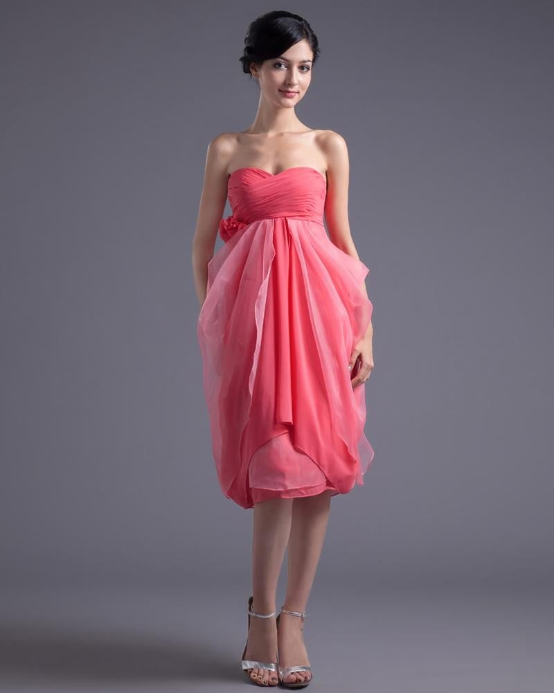 Fashion Chiffon Pleated Flower Sweetheart Knee Length Cocktail Dress