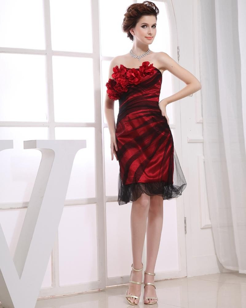 Flowers Strapless Neckline Thigh Length Pleat Charmeuse A-Line Woman Cocktail Party Dress