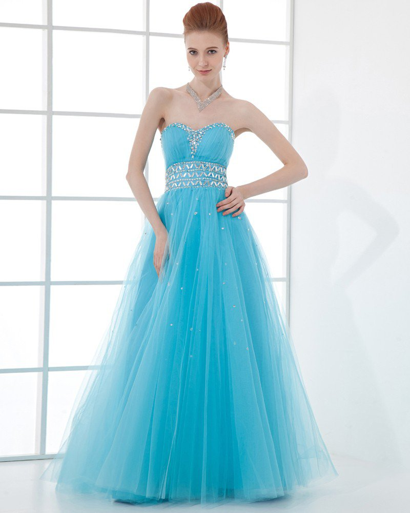 Fashion Tulle Pleated Beaded Sweetheart Floor Length Prom Dress