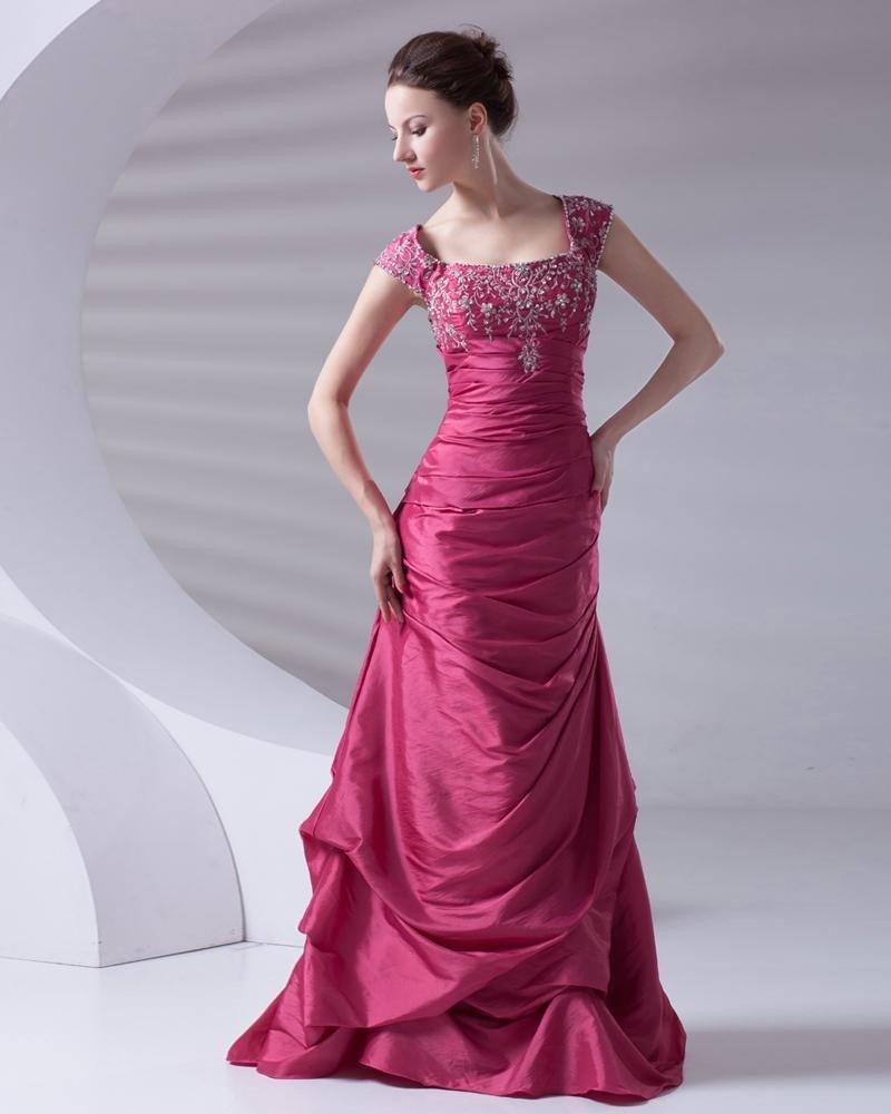 Fashion Square Neckline Floor Length Beading Ruffle Taffeta Prom Dress