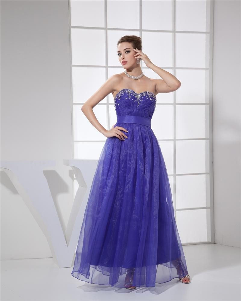 Ball Gown Sweetheart Sleeveless Zipper Beading Pleated Ankle Length Organza Silk Charmeuse Woman Qui