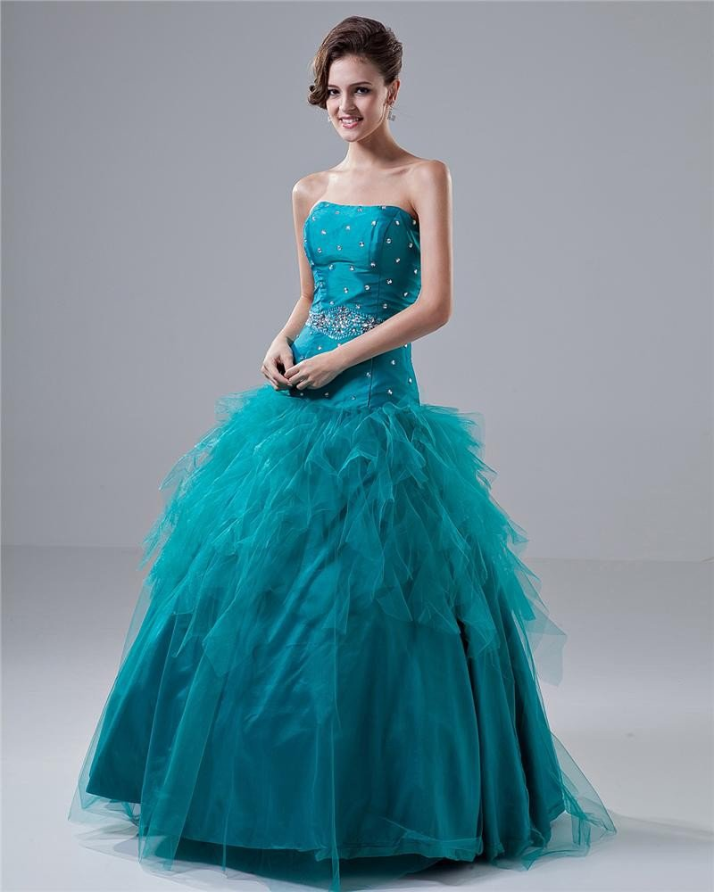 Ball Gown Off The Shoulder Beading Taffeta Floor Length Quinceanera Prom Dress