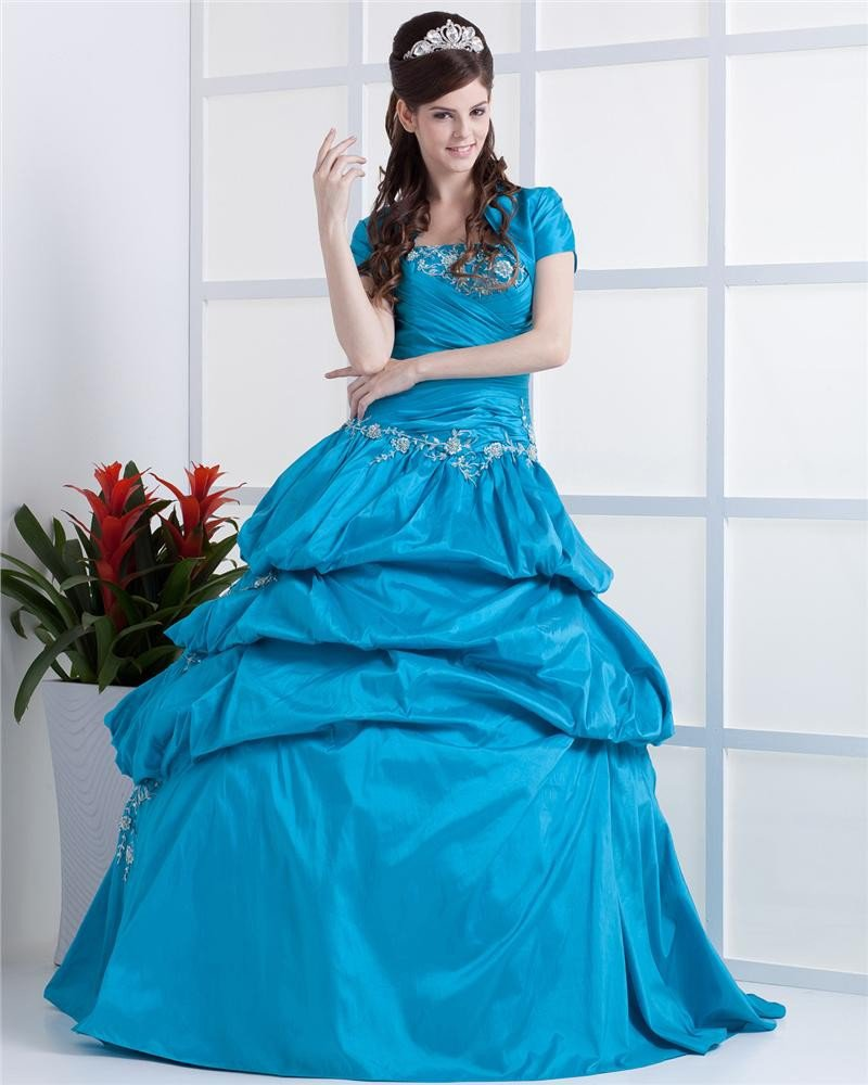 Ball Gown Strapless Floor Length Taffeta Prom/Quinceanera Prom Dresses