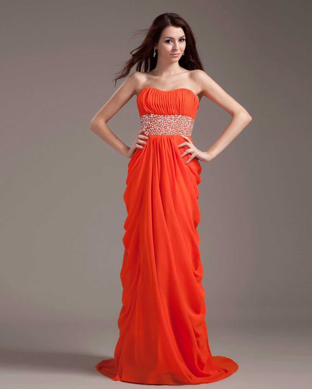 Chiffon Ruffle Sash Floor Length Prom Dress