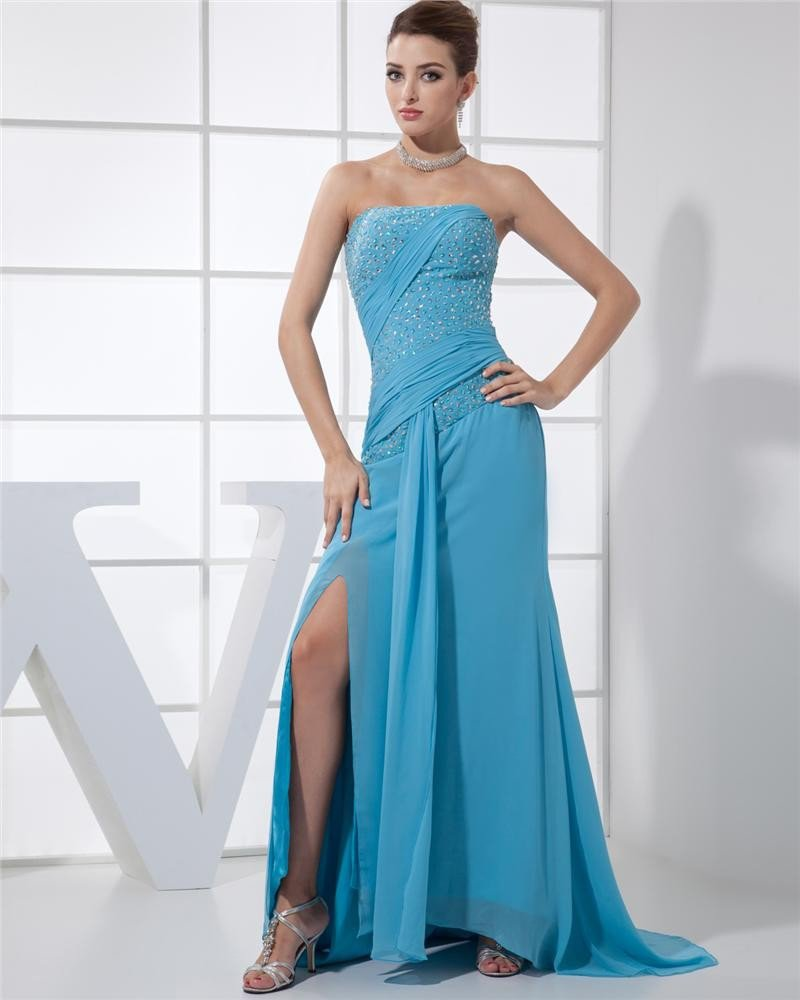 Strapless Sleeveless Zipper Beading Floor Length Chiffon Elastic Silk Like Satin Silk Woman Prom Dre