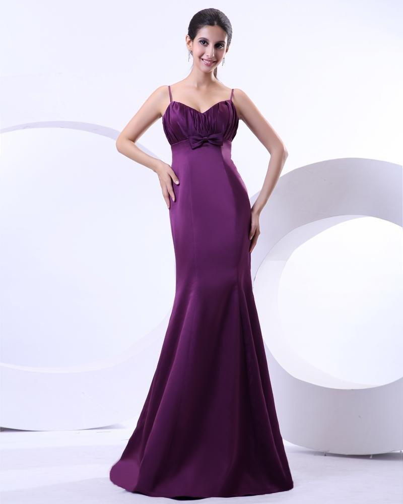 Empire Satin Ruffle Spaghetti Straps Floor Length Prom Dresses