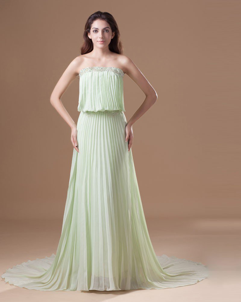 Chiffon Ruffle Beading Strapless Court Train Pleated Prom Dress