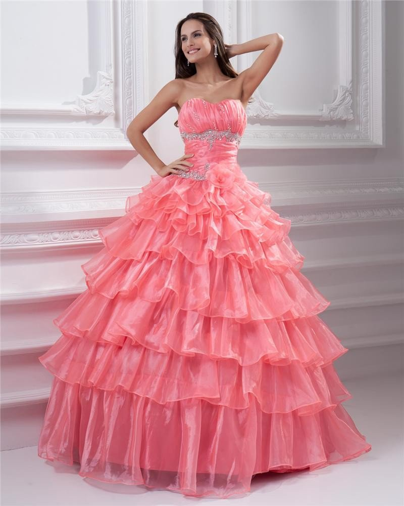 Ball Gown Sleeveless Organza Embroidery Ruffles Sashes Sweetheart Floor Length Quinceanera Prom Dres