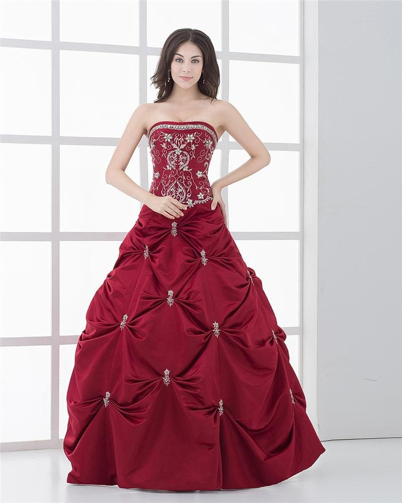 Strapless Ruffle Beading Embroidery Floor Length Satin Woman Prom Dresses