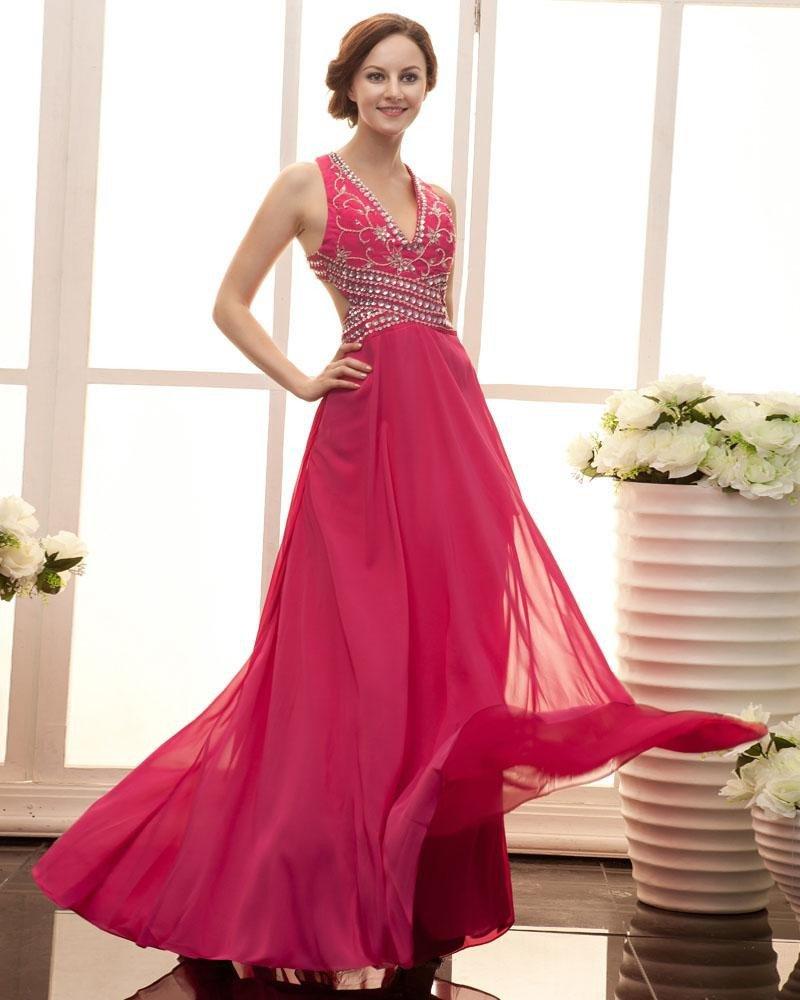 Stylish Ruffle Floor Length Beading Sleeveless V Neck Zipper Satin Chiffon Prom Dresses
